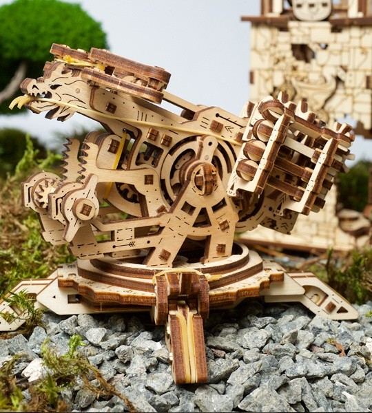 Ugears mechanical model kit Archballista Tower and wooden 3D puzzle. Catapulta and Ballista and medieval fortress. Original gift for boys and girls and smart hobby for grown-ups.