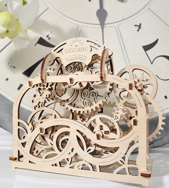 Ugears mechanical model kit Theater and wooden 3D puzzle. Kinetic picture with moving gears and fairy characters. Original gift for boys and girls and smart hobby for grown-ups.